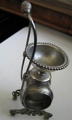 Victorian Silver Plate FLORAL NAPKIN RING & SALT CELLAR COMBINATION w/ Handle