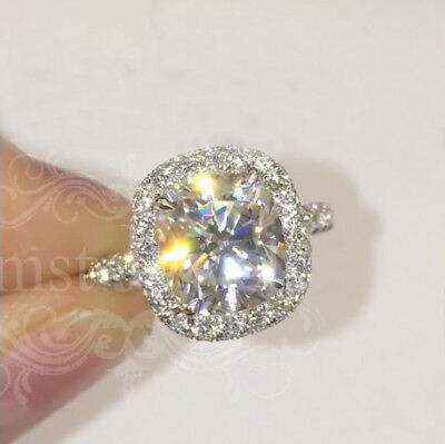 4.80Ct Cushion Gorgeous Sparkle Moissanite Engagement Ring 14K Solid White Gold