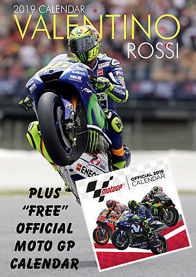 """Valentino Rossi 2019 Calendar, Large A3 Size, With """"free""""  Uk Tracked Delivery"""