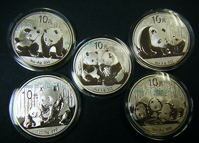 2009 2010 2011 2012 2013 China Silver Panda coin 1 oz .999 Fine 10 Yuan Chinese