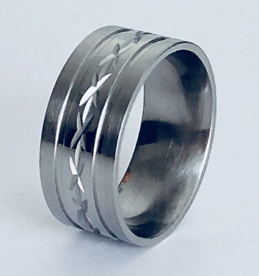 Men Women 316L Stainless Steel Diamond Cut 9mm Ring Comfort Fit Band NEW SS80