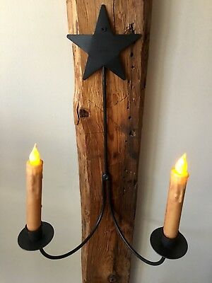 Wrought Iron Double Candle Holder Sconce *** Hand Made By Amish *** NEW