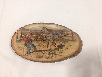 Rodeo Western Cowboy Horse Wood Burned Wooden Plaque Wall Hanging Tree Bark