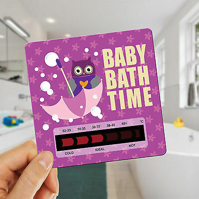 Owl Baby Bath Thermometer Card With New Moving Line Technology - Pink/Purple