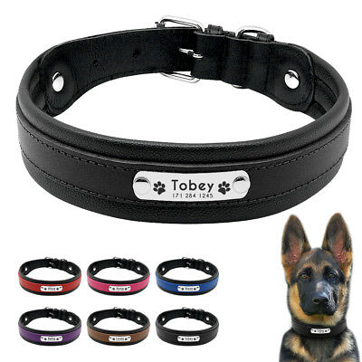 Genuine Leather Personalized Dog Collar With Engraved Nameplate for Large Dogs