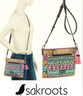 "NWT Sakroots Nella Canteen Small Crossbody Shoulder Bag New 7/"" x 7/"" SHIP INTL"