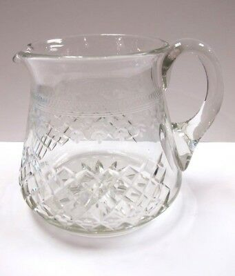 """Exceptional Edwardian 5"""" Wheel Engraved  & Cut Glass Water Jug ca1900"""