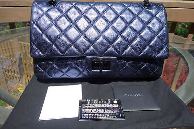 3f44619f568c CHANEL METALLIC DARK Blue Quilted Reissue 226 Double Flap Bag Aged ...