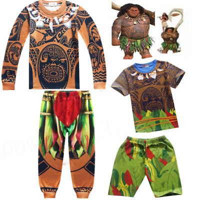 AU Moana Maui Kids Boy T-shirt + Pants Costume Cosplay Halloween Outfits Pyjamas