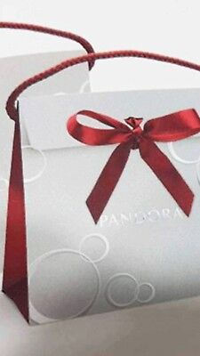 New Genuine PANDORA Silver & Red Gift Bag With Ribbon