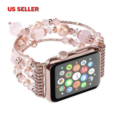 US! Apple iwatch Pearl Bling Agate Beads Band Bracelet Strap for 3/2/1 38 42mm