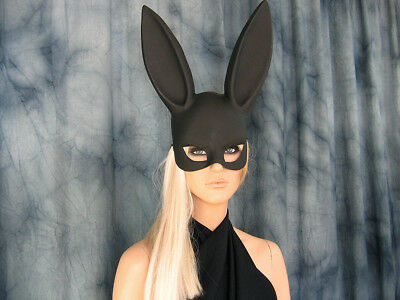 BLACK BUNNY EYE MASK Augenmaske Hase Hasenohren Ostern Easter Haube Pet Play