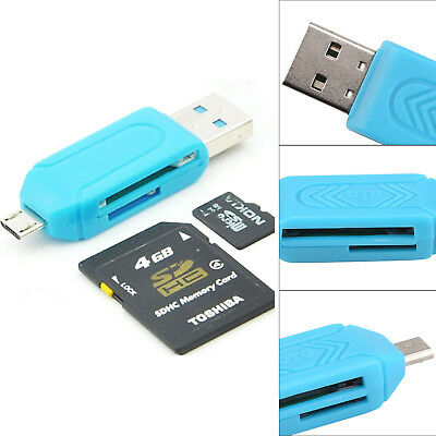 Micro USB OTG to USB 2.0 Adapter SD Card Reader Android PC Memory Card Reader