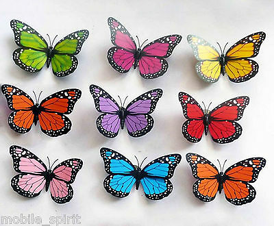 12x 3D Artificial Butterflies With Iron Wire Wedding Floral Butterflies Colorful