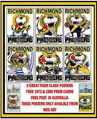 Richmond Tigers 2017, 1980 & 1974 Clash Posters FREE POST IN AUSTRALIA