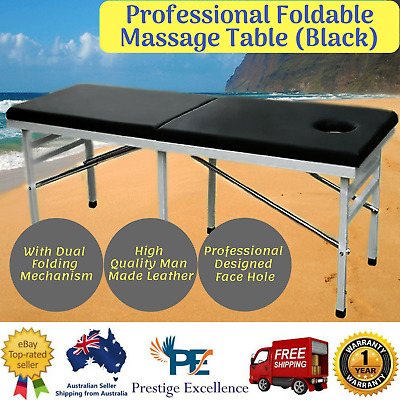 New Professional Foldable Massage Table  Fitplus High Quality Heavy Duty (Black)