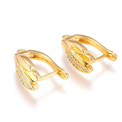 10 Brass Paved Cubic Zirconia Leaf Leverback Earwire Gold Plated Hang Loop 18mm