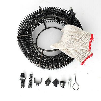 Plumber Drain Snake Pipe Pipeline Sewer Cleaner 12M with 6 Drill Bit for Drill