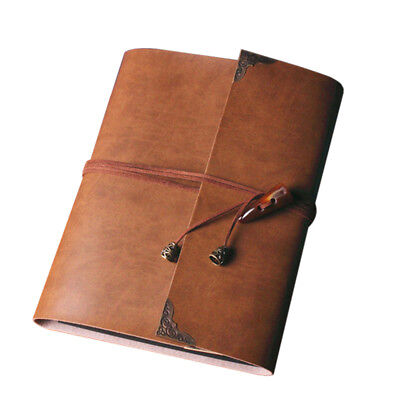 Vintage Leather Photo Album Scrapbook Retro Brown Memory Diary Memo Book Gift