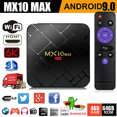 MX10MAX 6K 4+64G Android 9.0 Pie Smart TV BOX Quad Core 3D Movie WIFI HDMI2.0 IT
