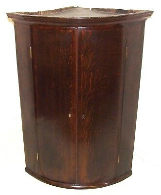 Antique GEORGIAN Inlaid Oak & Mahogany Bow Fronted Corner Cupboard (19)