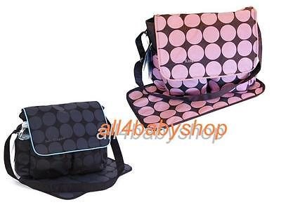 Large Polka Dots Nappy Diaper Changing Bags Set BLACK/GREY or BROWN/PINK NEW