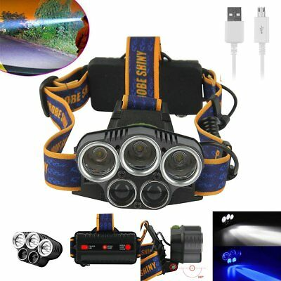 Waterproof 80000LM 5x XML T6 LED Rechargeable USB Headlamp Headlight USB Cable