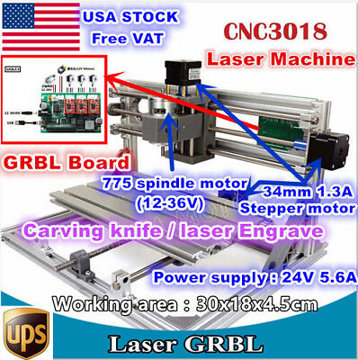 【USA】3 Axis 3018 DIY Mini Laser Machine GRBL Control Pcb Milling CNC Wood Router