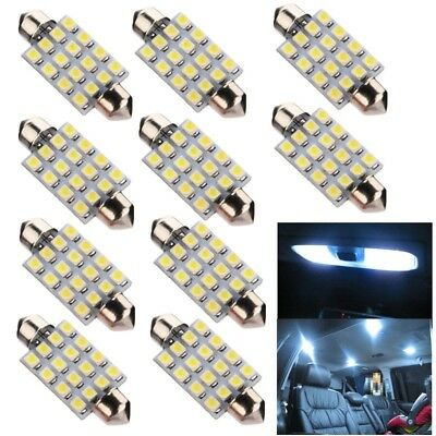 10x 42mm 16 SMD 3528 LED Soffitte Sofitte Innenraumbeleuchtung Lese Lampe Weiß