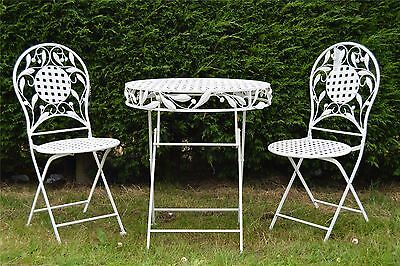 New 3pc Bistro Set Antique White Metal Folding Table And Chairs Garden Furniture