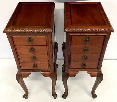 Pair Queen Anne Style Mahogany Bedside Cupboards Cabinets Lamp Stands