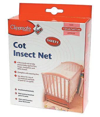 CLIPPASAFE BABY COT BED FIT INSECT NET 135CM x 67CM x 67CM - WAREHOUSE CLEARANCE