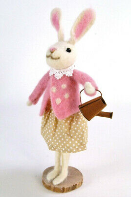 Standing Bunny Rabbit in Pink Jacket with Watering Can in a vintage theme