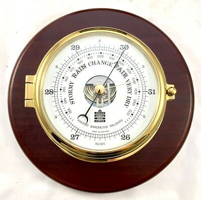 Brass Cased Ships Marine Barometer SEWILLS LIVERPOOL : Open Dial (c20)