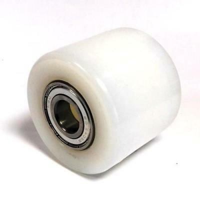 PALLET TRUCK ROLLER / WHEEL WHITE NYLON with 2 METAL BEARINGS D82mm x 70mm wide