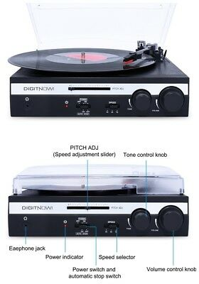 3 Speed Vinyl Turntable Record Player LP Converter with Built-in Stereo Speakers