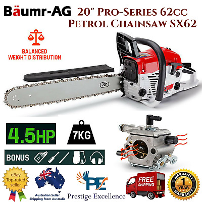 "NEW Baumr-AG 20"" Pro-Series 62cc Petrol Arborist Chainsaw Commercial Bar E-Start"