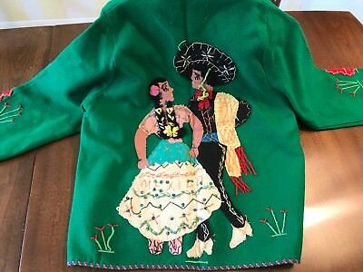 VTG Wool Child Jacket Hand Embroidered Green Mexico Presidente Cinco de Mayo