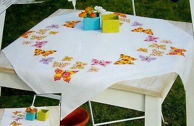 White Stamped Vervaco Tablecloth To Embroider Stitch Butterflies Kit Orange Pink