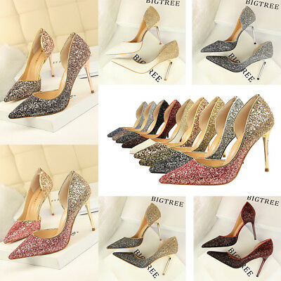 Sexy Women Bling Pumps High Heels Stiletto Sandals Point Toe D'orsay Party Shoes