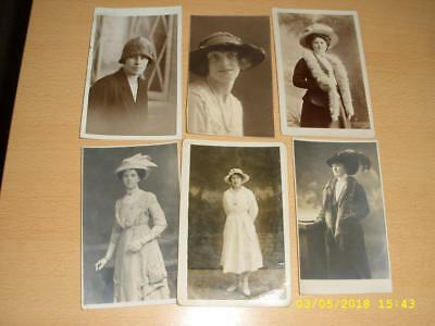 Vintage Collection Ladies In Fancy Fashion Hats  Old Photo Postcards