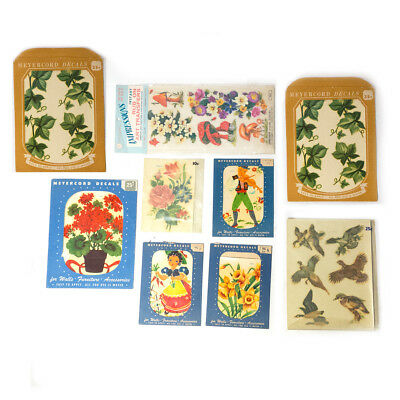 Vintage Lot of 9 MEYERCORD & IMPRESSIONS Nursery, Floral & Ducks Decals Sheets
