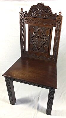 Antique Victorian Carved Solid Oak Hall Armchair With Finials