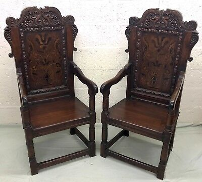 PAIR Antique Style Carved & Marquetry Inlaid Oak Wainscot Chairs Armchairs