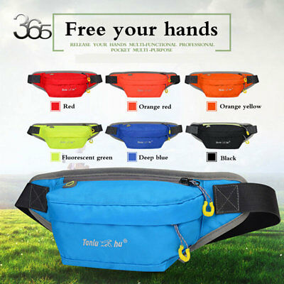 Waterproof Running Belt Bum Waist Pouch Fanny Pack Camping Hiking Zip Nylon Bag