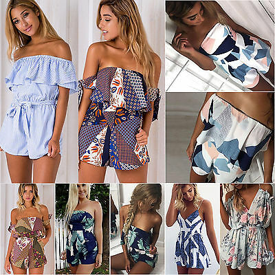 Womens Summer Holiday Mini Playsuit Lady Jumpsuit Romper Beach Shorts Dress UK