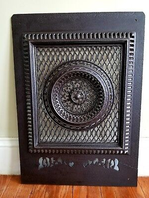 19thC Cast Iron Reburbished Gilded Age Fireplace Summer Cover