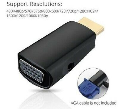 HDMI 1.4 Male to VGA Female Adapter with 3.5mm Audio and Built-in Chipset - Blac
