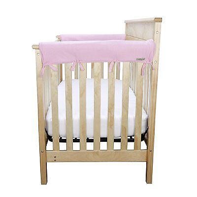 "New CribWrap Trend Lab Set of 2 Side Crib Rail Covers in Pink Up to 12"" Around"