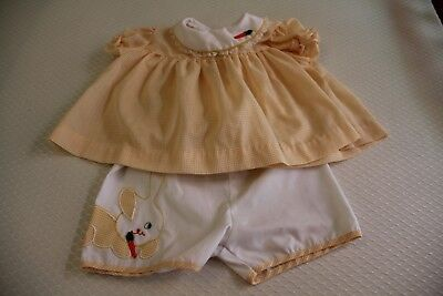 Vintage 1960s yellow Nannette bunny infant top and short set